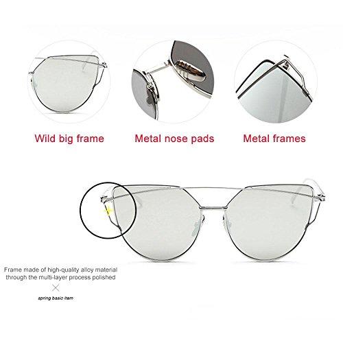 beams De Chat Lens Femme Unique Classique Miroir Silver Objectifs Plat Street Lens Mode Rétro Frame Œil Soleil Twin Aolvo Transparent Métallique Lunettes Taille Cadre Gold 1xSAqwE8St