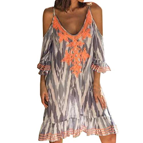 Sumeimiya Women Off Shoulder Dress,Ladies Halter Beach Dresses Tassel Short Cocktail Party Sundress Gray]()