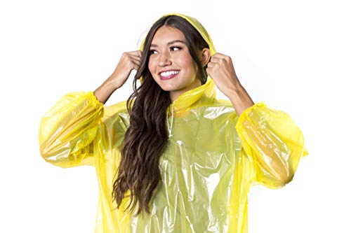 Deep Disposable Rain Poncho Adult 6 Pack | Waterproof Lightweight Portable Ponchos with Hood | Thick Plastic (2X Stronger Than Normal) Makes Them Reusable (Including Clear)