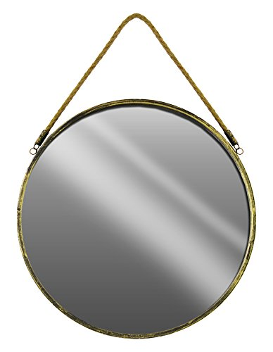 Urban Trends Metal Round Wall Mirror with Rope Hanger LG Tarnished Finish Gold, Large (Urban Collection Mirror Living)