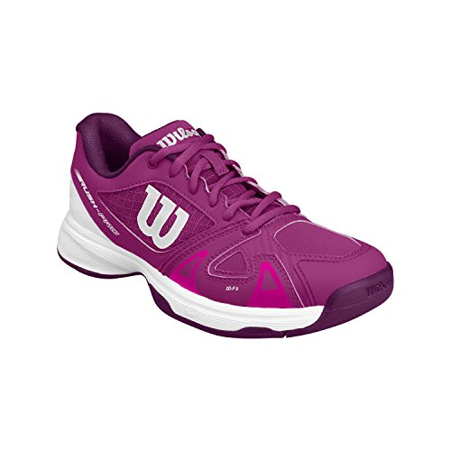 Image of Wilson Kids Girl's Rush Pro 2.5 Jr Tennis (Little Kid/Big Kid) Verry Berry/White/Dark Purple 11 M US Little Kid
