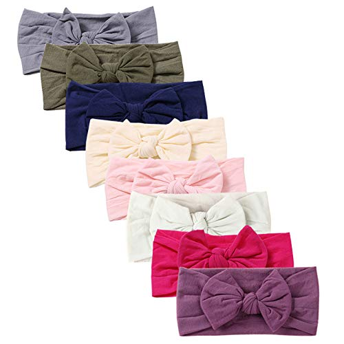 Wrap Bow - Baby Super Stretchy Nylon Knotted Headbands Baby Head Wraps Baby Headbands Bows (AT021)