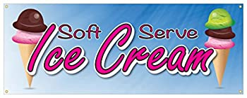 Soft Serve Ice Cream #01 Banner Refreshing Flavors Concession Stand Sign 24x72