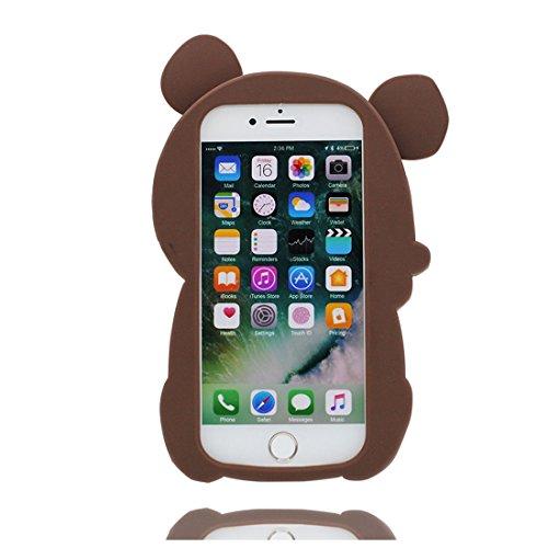 iPhone 7 copertura,iPhone 7 Case,Cassa molle del silicone molle della cassa dellorso del fumetto 3D per il iPhone 7 4.7inch