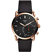 Fossil Q Men's 'Hybrid Smartwatch' Quartz Stainless Steel and Leather Smart Watch, Color:Black (Model: FTW1176)