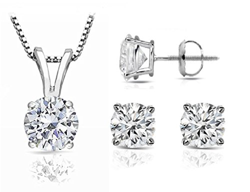 PARIKHS Round Diamond Set Prime Quality-ScrewBack 14K White Gold (0.15 ctw, I1 clarity) by PARIKHS