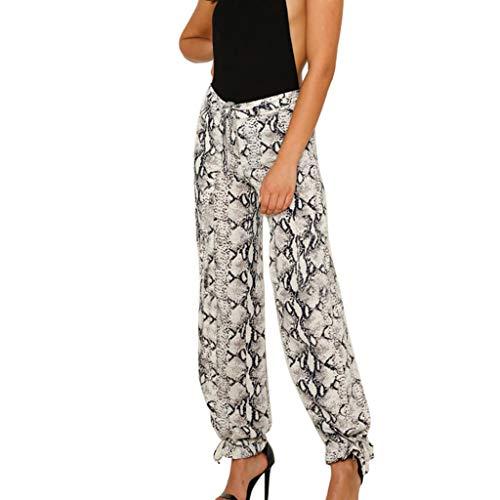 GoodLock Hot!! Women's Fashion Loose Long Pants Ladies Casual Sexy Snake Skin Print Ribbons Trousers (Black, Medium)