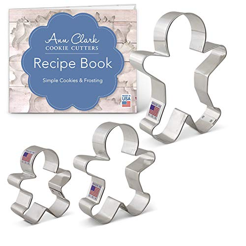 Ann Clark Cookie Cutters 3-Piece Gingerbread Cookie Cutter Set with Recipe Booklet, 2.9