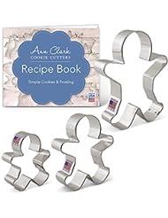 "Gingerbread Man/Men Cookie Cutter Set with Recipe Book - 3 Piece - 2.875"", 3.75"", 5"" - Ann Clark Cookie Cutters - USA Made Steel"