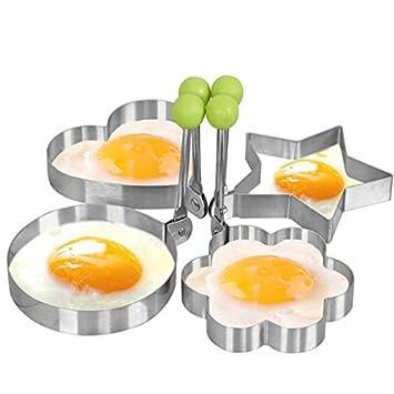 4 Set Premium Acero Inoxidable Huevo Frito Molde Para Huevos Pancake moldes: Amazon.es: Hogar