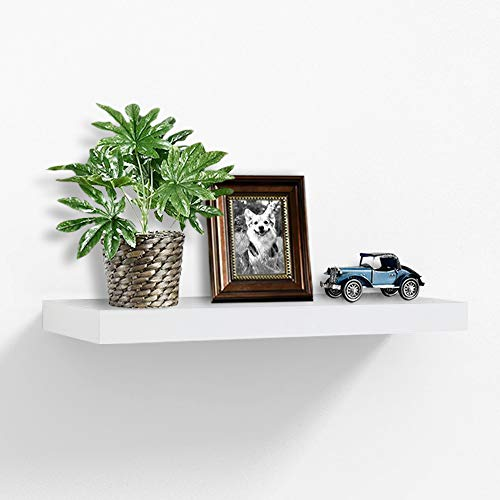 AHDECOR White Floating Shelves, Deep Wall Mounted Display Ledge Shelf, Super Sturdy, -