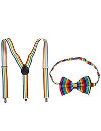 Men's Rainbow Y Shape Adjustable Suspender and Bow Tie for Gay Pride Parade