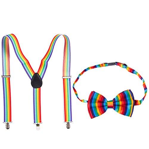 Suspender Bow Tie Set - Men's Y Shape Adjustable Suspender and Bow Tie, Clip-Ons, Rainbow Color
