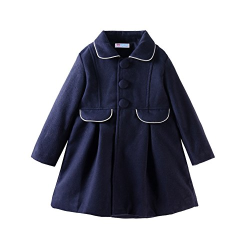 Mud Kingdom Little Girls Peacoat Faux Wool Dress Coat Slim 2T Navy Blue