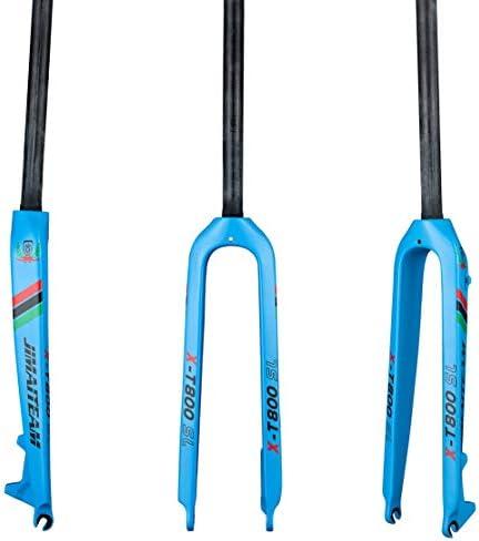 いっぱい カーボンファイバー マウンテンバイク ロードバイク フォーク まっすぐ チューブ 300 * 28.6mm リジッド ディスクブレーキ フォーク,Blue,26