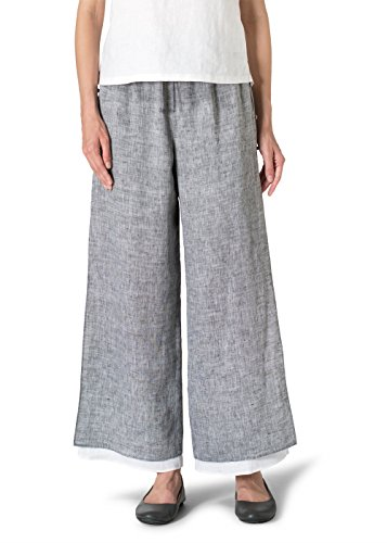 Vivid Linen Double Layers Pants With Sea Shell Button-M-Two Tone Black/White