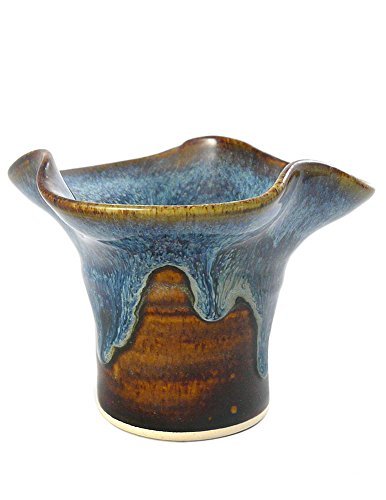 American Made Stoneware Pottery Ikebana Vase, Earthy Blue