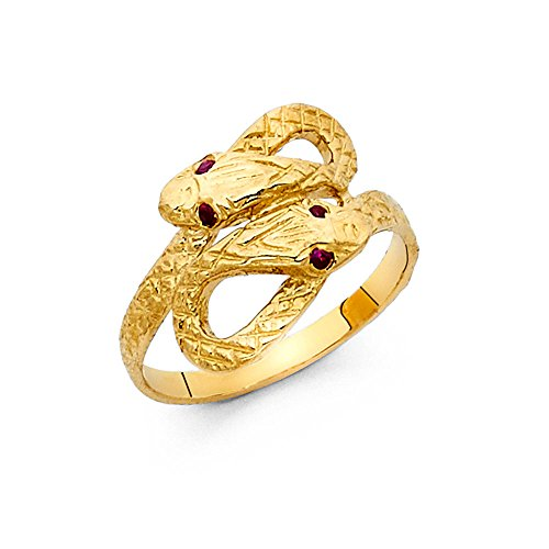 Paradise Jewelers 14K Solid Yellow Gold Cubic Zirconia Twin Snakes Ring, Size ()