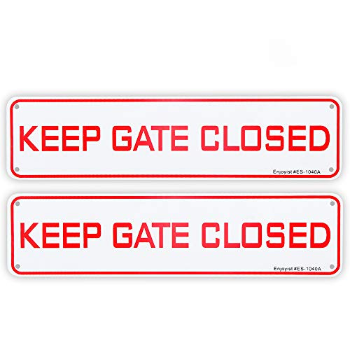 """2 Pack Keep Gate Closed Sign, 12""""x 3"""" - .040 Aluminum Sign Rust Free Aluminum-UV Protected and Weatherproof"""