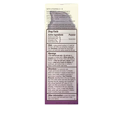 419dlcgN3zL - Aveeno Absolutely Ageless Daily Facial Moisturizer with Broad Spectrum SPF 30 Sunscreen, Antioxidant-Rich Blackberry Complex, Vitamins C & E, Hypoallergenic, Non-Comedogenic & Oil-Free, 1.7 fl. oz