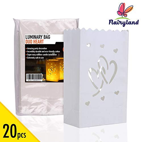 20pcs White Luminary Candle Bags Special Lantern Luminary Bag with Duo Heart Durable and Reusable Fire-Retardant Cotton Material for Wedding Valentine Reception Engagement Marriage Proposal -