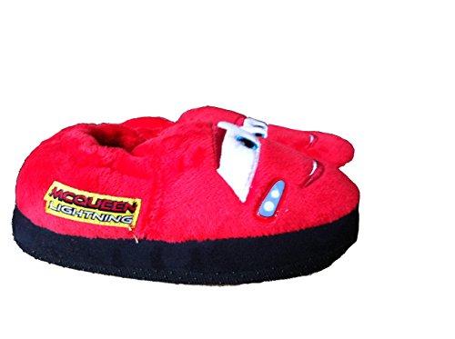 Disney Cars Hausschuhe, Pantoffeln mit Roten Blinklichtern Rot