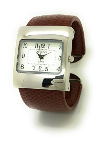 Ladies Snakeskin Leather Bangle Cuff Watch Square Case White Dial Wincci (Brown)