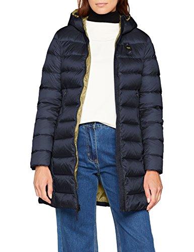 Blu Imbottito trench Lunghi Lichene Femme Coat Piuma blu Verde Blauer 888vh Int Impermeabile w1x5F