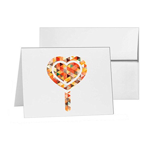 Candy Cane Heart Candy Lollipop , Blank Card Invitation Pack, 15 cards at 4x6, with White Envelopes, Item 23366 ()