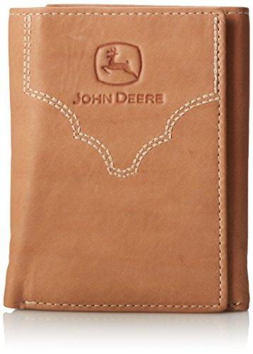 John Deere Men's Leather Trifold Wallet, Brown, One Size