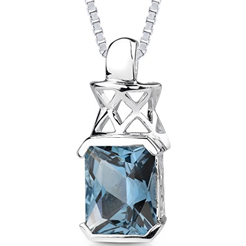(5.00 cts Radiant Cut London Blue Topaz Pendant in Sterling Silver Rhodium Nickel Finish)