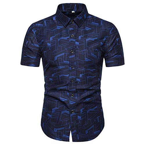 Shirt Short Sleeve Casual Buttons Summer Fashion Printed Comfortable Top Men (M,4- Blue)]()