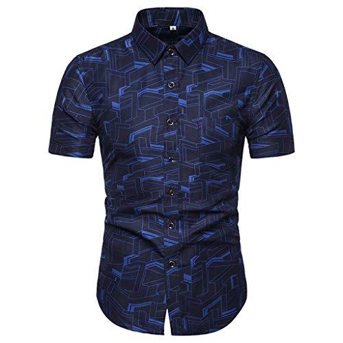 Shirt Short Sleeve Casual Buttons Summer Fashion Printed Comfortable Top Men (4XL,4- Blue)]()
