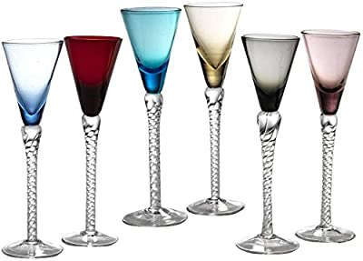 Circleware Twist Multi Colored Cordial Wine Whiskey Glasses with Clear Stems, Set of 6, Lead Free Glass Beverage Drinking Cups for Bar, Water, Juice & Best Selling Drinks, 1.5 ounce, Colors