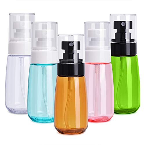 (Noverlife 5 Pack 60ml/2oz Face Mist Spray Bottles, Ultra Fine Mist Hair Spray Bottle, Leakproof Water Sprayer Makeup Travel Bottle Containers for Skincare Lotion, Atomizer Toiletry Organizer Kit)
