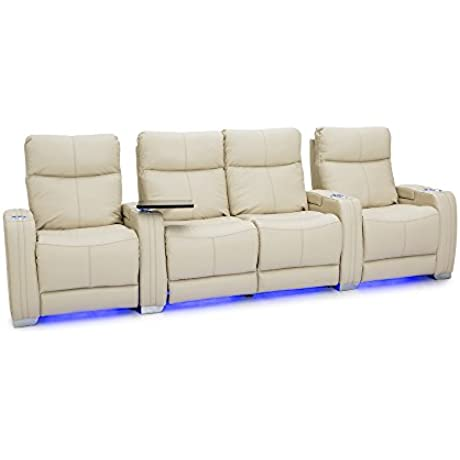 Seatcraft Solstice Leather Home Theater Seating With Power Lumbar Recline And Headrest Row Of 4 Loveseat Cream