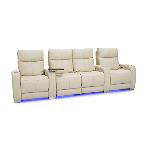 Seatcraft Solstice Leather Home Theater Seating with Power Lumbar, Recline, and Headrest (Row of 4 Loveseat, Cream)