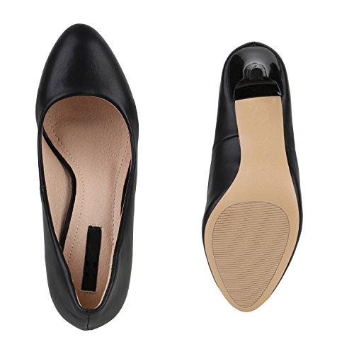 Stiefelparadies Klassische Damen Pumps Übergrößen Stiletto High Heels Leder-Optik Party Schuhe Lack Metallic Abendschuhe Abiball Flandell Schwarz Matt