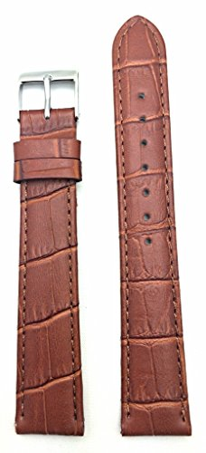 18mm Long, Honey Brown Alligator Square Crocodile Grained Genuine Leather Watch Band   Lightly Padded Replacement Wrist Strap That Brings New Life to Any Watch (Mens Long Length)