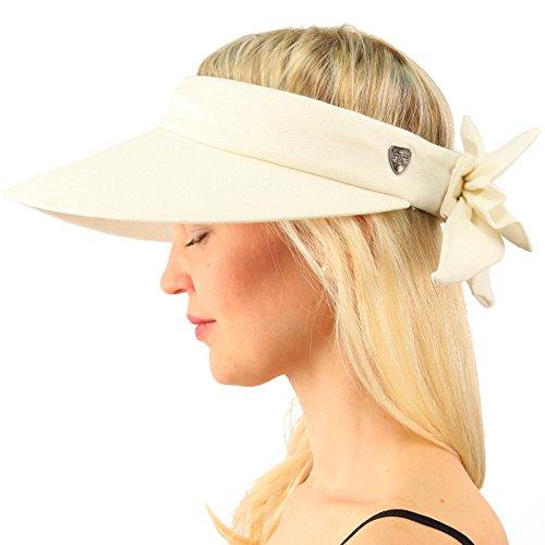 Sun Protection UPF UV Wide Big Brim Linen Cotton Beach Pool Visor Cap Hat (Ivory Pool)