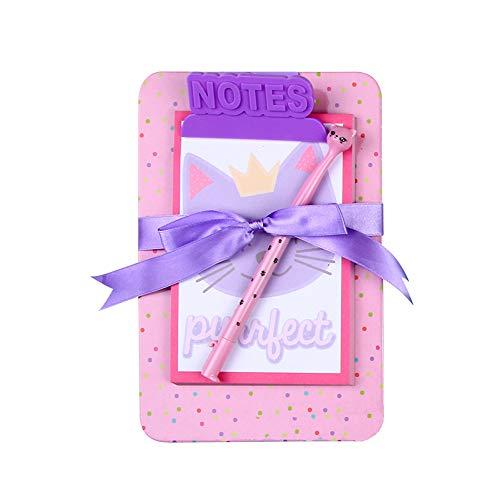 Board Clip Note Book Cartoon Board Clip Sticky Note Clipboard Memo Pads Set- Pen Notepad Clipboard Included (Pink Cat) - Memo Pad Clipboard