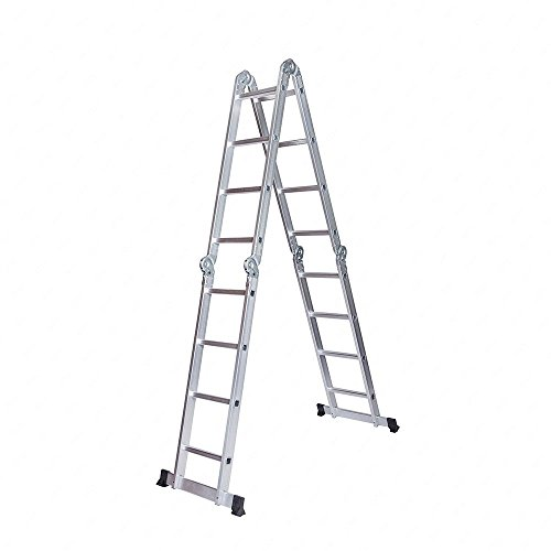 Idealchoiceproduct 15.5' Heavy Duty Gaint Aluminum Multi Purpose Folding Ladder Scaffold Ladders with 2 Platform Plates- 330Lbs by Idealchoiceproduct (Image #2)