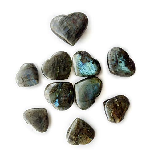 Labradorite Crystal Stone - AMOYSTONE Labradorite Heart Shaped Chakra Stones Healing Crystal Holistic Balancing Polished 10 Pcs Wholesale