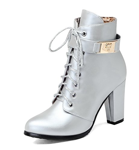Allhqfashion Mujeres High-heels Soft Material Low-top Solid Zipper Botas Plata