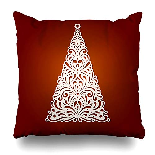 DIYCow Throw Pillows Covers Laser Abstract Christmas Tree Cutting Party Fold Suitable for Plotter Holidays Cardmaking Chipboard Home Decor Pillowcase Square Size 20 x 20 Inches Cushion Case