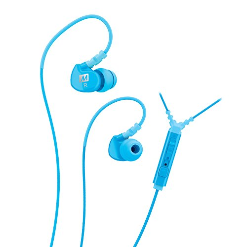 (MEE audio Sport-Fi M6P Memory Wire In-Ear Headphones with Microphone, Remote, and Universal Volume Control (Teal))