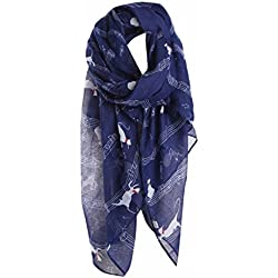 DDLBiz Women Musical Note Cat Pattern Long Scarf Warm Shawl Fashion Scarves (Navy)