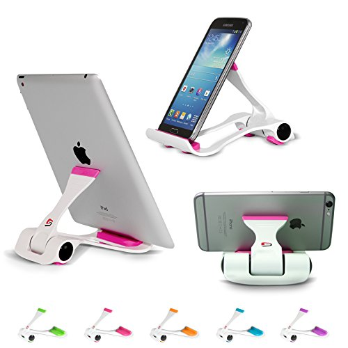 SIME-ON: Phone and Tablet Stand, Desk Holder Compatible with iPhone, iPad (Mini), Samsung Devices, Universal, Portable, Adjustable Multi-Angle - Pink