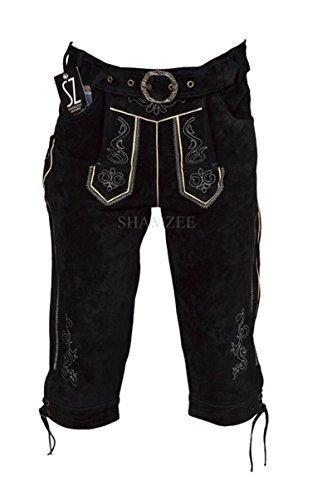 SHAMZEE Trachten Lederhose knielang in Schwarz farbe inklusive Gürtel Echt Leder SHAMZEE lederhosen Gr. 46-62 (62, Schwarz)