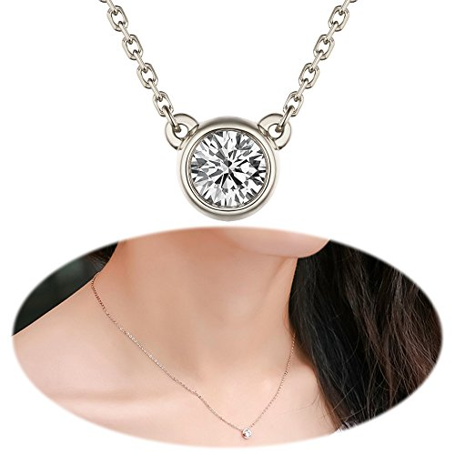 Pendant Rhinestone (Single Crystal Necklace Rhinestone Pendants Dangle Solitaire Choker Collarbone Collar Chain Delicate Charms Jewelry Silver Plated)